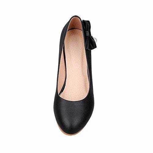 Mee Shoes Damen modern bequem Keilabsatz runder toe Geschlossen mit Schleife Pumps Schwarz