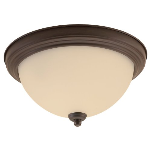 Sea Gull Lighting 77063-814 Single-Light Del Prato Close-to-Ceiling Fixture, Satin Etched Glass and Misted Bronze
