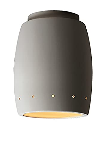 Justice Design Group Lighting CER-6135W-BIS Outdoor Flush-Mount with Ceramic Bisque Shades, White (Georgia Justice)