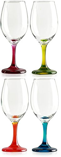 Circleware Twilight Wine Glasses Set with Multi-colored Stems, Set of 4, 13 oz, -
