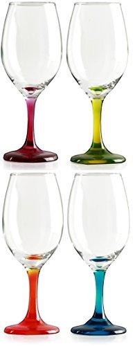 Circleware Twilight Wine Glasses Set with Multi-colored Stems, Set of 4, 13 oz., Multicolored