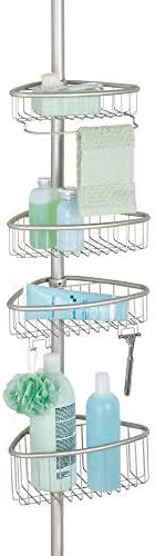 mDesign Bathroom Shower Storage Constant Tension Corner Pole Caddy - Adjustable Height - 4 Positionable Baskets - for Organizing and Containing Hand Soap, Body Wash, Wash Cloths, Razors - Satin