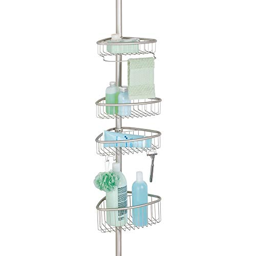 mDesign Bathroom Shower Storage Constant Tension Corner Pole Caddy - Adjustable Height - 4 Positionable Baskets - for Organizing and Containing Hand Soap, Body Wash, Wash Cloths, Razors - Satin ()