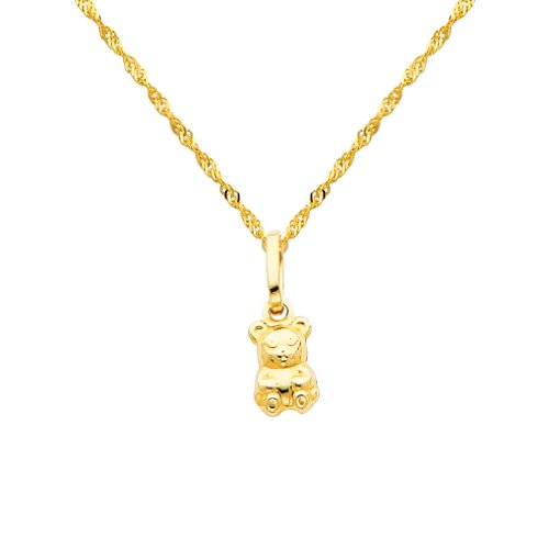 14k Yellow Gold Teddy Bear Charm Pendant with 1.2mm Singapore Chain Necklace - (14k Gold Fashion Bear)