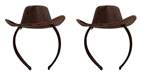 Beistle 53336, 2 Piece Cowboy Hat Headbands, One Size Fits Most (Brown)