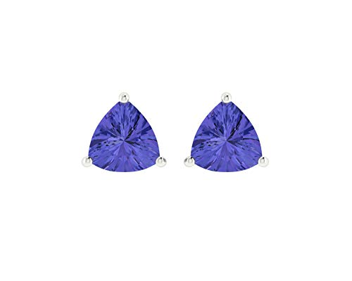 Euforia Jewels 14K White Gold Top Quality Natural Tanzanite 0.59 Carats Trillion Cut Stud Earrings With Silver Sillicon ()