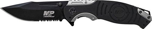 Smith & Wesson M&P SWMP13GS 8.2in High Carbon S.S. Folding Knife with 3.5in Serrated Clip Point Blade and Aluminum Handle for Outdoor, Tactical, Survival and EDC (M And P Knife)