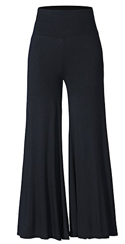 Darshion Woman Casual Office Wear Comfy Chic Palazzo Lounge Pant (XXXL, Black) -