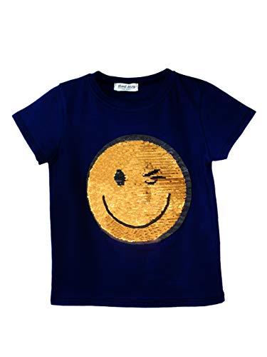 Kids Girls Emoji Emoticons T Shirt TEE TOP Brush Changing Sequin Sizes 3-14  Years 1bedfb171863