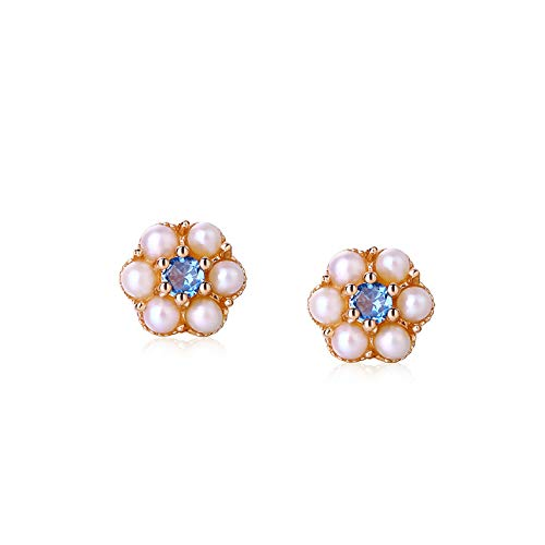 - GYXYZB Summer Temperament Wild Jewelry 14K Gold Pink Tourmaline London Blue Topaz Pearl Earrings