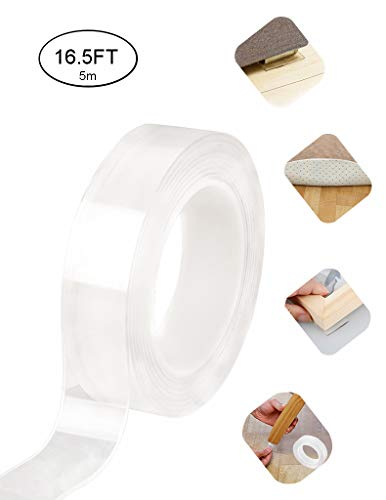 Double Sided Traceless Washable Nano Tape Reusable Clear Double Sided Anti-Slip Nano Gel Pads,Removable Sticky Stips Grip for Wall,Room,Paste Photos and Posters,fix Carpet maats,Paste Items etc(2 mm)