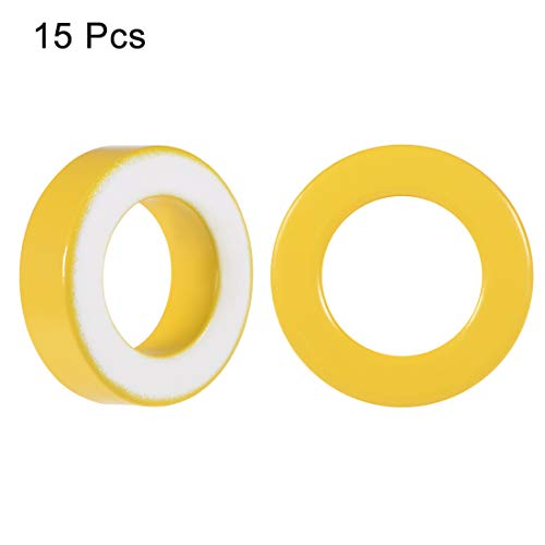 uxcell 15pcs 22 x 36.5 x 11mm Ferrite Ring Iron Powder Toroid Cores Yellow White by uxcell (Image #1)