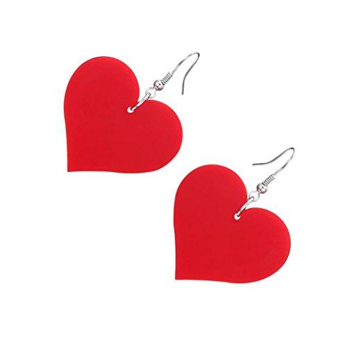 - Dovewill 1 Pair Womens Acrylic Heart Drop Dangle Hook Earrings Hip Hop Jewelry - Red