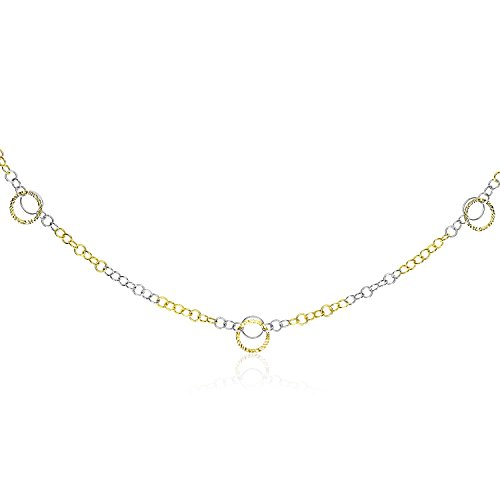 14K Two-Tone Gold Chain Necklace with Entwined Textured Ring Stations