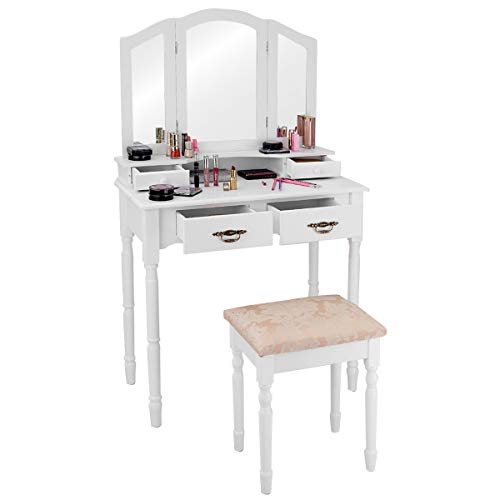 Giantex-Tri-Folding-Mirror-Bathroom-Vanity-Makeup-Table-Stool-Set-Home-Furni-W4-Drawers-White