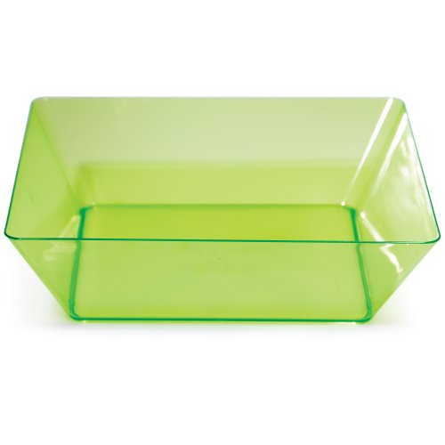 Creative Converting Square Plastic Serving Bowl, 11-Inch, Translucent Green - 724699