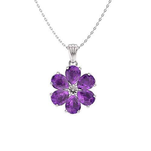 Diamondere Natural and Certified Pear Cut Amethyst Flower Necklace in 14k White Gold | 0.90 Carat Pendant with ()