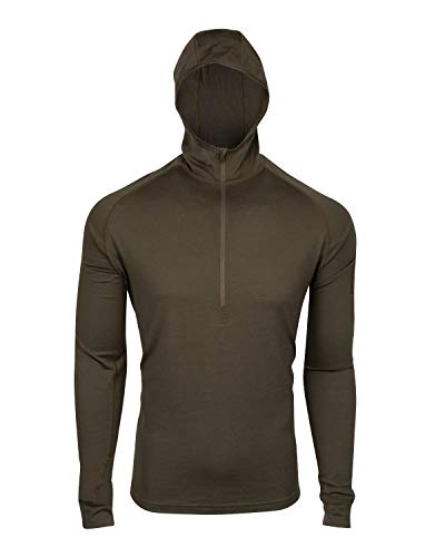 7EVEN Clothing CO Mens 100% Lightweight Merino Wool Hooded Long Sleeve Shirt 190 GSM (Large)