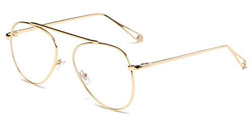 Cramilo Circle Retro Vintage Metal Frame Colored Lens Round Aviator - Aviator Sunglasses Coloured
