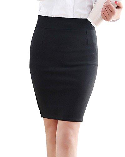Longueur Elgant Crayon Et Taille Jupe Moulante Femmes Noir Genoux Haute Jupe pSw77q