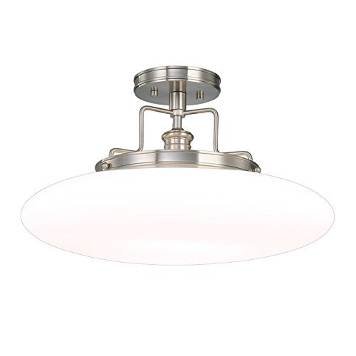 Hudson Valley Lighting Beacon 1-Light Semi Flush - Polished Nickel Finish with Opal Mouth-Blown Glossy Glass Shade by Hudson Valley ()