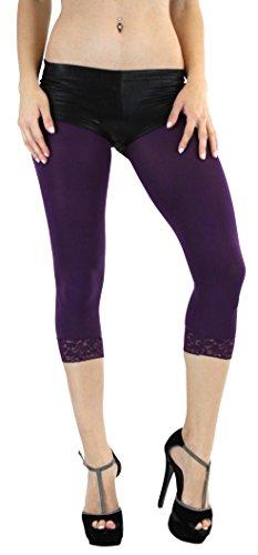 ToBeInStyle Women's Lace Trim Footless Capris Tight (Dark Purple) ()