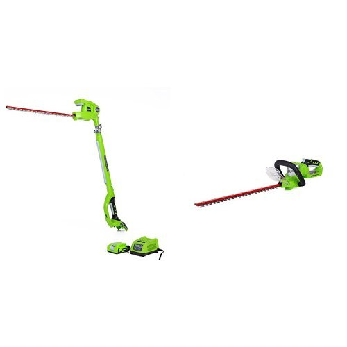 GreenWorks G-24 Cordless 20'' Pole Hedge Trimmer and 22'' Hedge Trimmer by Greenworks