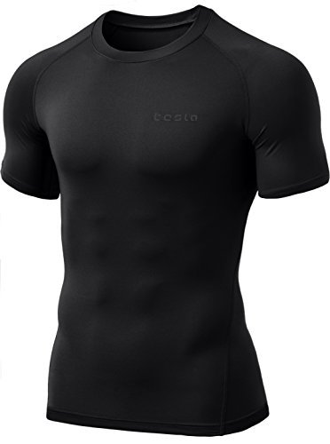 TSLA Men's Thermal Wintergear Compression Baselayer Short Sleeve Top