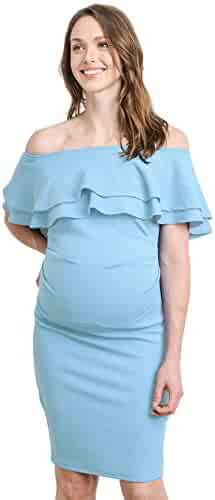 21f86d77a29 LaClef Women s Off Shoulder Maternity Dress with Double Ruffle