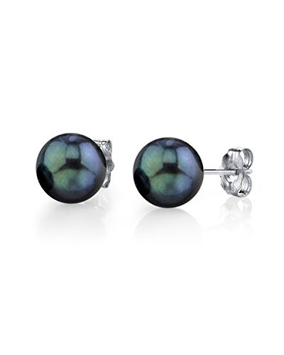 THE PEARL SOURCE 14K Gold 8-8.5mm Round Black Cultured Akoya Stud Pearl Earrings for ()