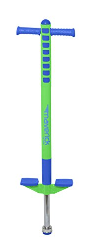Flybar Limited Edition Foam Maverick Pogo Stick for Boys & Girls | Indoor/Outdoor Toy for Kids Ages 5-9 | Features NEW 'Rubber' Grip Handles | Non-Slip Foot Pegs for Safety - (Blue/Lime, 1 Pack) ()
