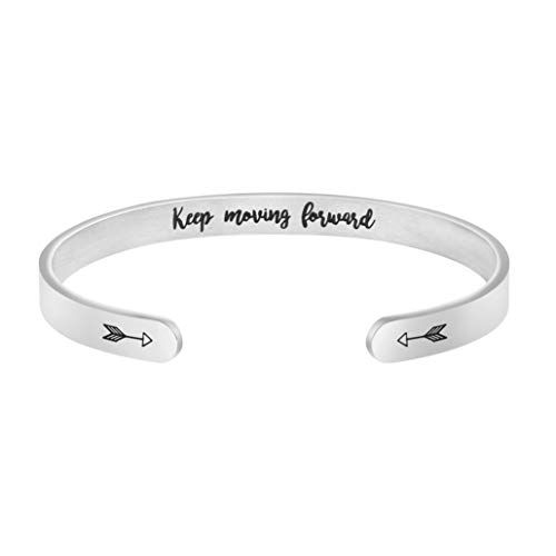 Joycuff Keep Moving Forward Inspirational Bracelet Personalized Engraved Mantra Saying Message Quote Arrow Stainless Steel Open Cuff Bangle
