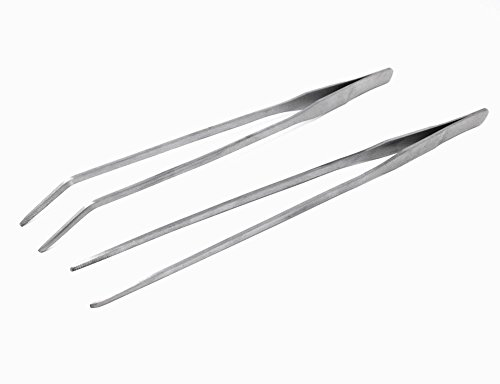 HONBAY 2pcs Stainless Metal Straight and Curved Tweezers Nippers Feeding Tongs for Reptile Snakes Lizards Spider