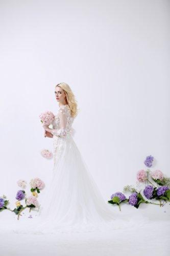 Lactraum Design WD15405 Brautkleid mit Ärmeln Spitze Schleppe Etui ...