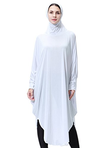 GladThink Womens Muslim Bat's-wing-sleeves Dress Hijab Two in One White M