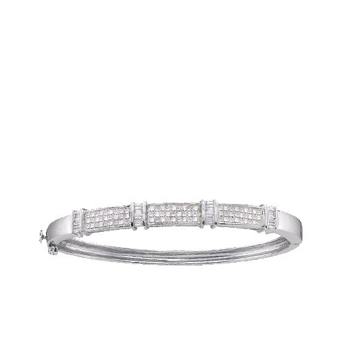 2.00ctw Princess & Baguette Cut Diamond Bangle Bracelet