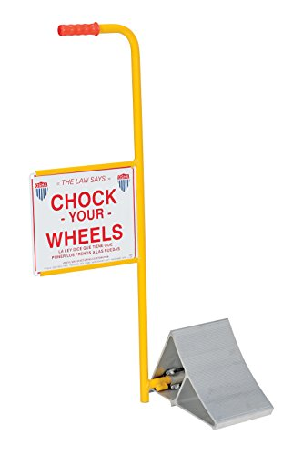 Vestil EALUM-7-HS Extruded Aluminum Wheel Chock with Handle and Sign, 21-3/16'' Width, 37-9/16'' Height, 11-7/8'' Length by Vestil