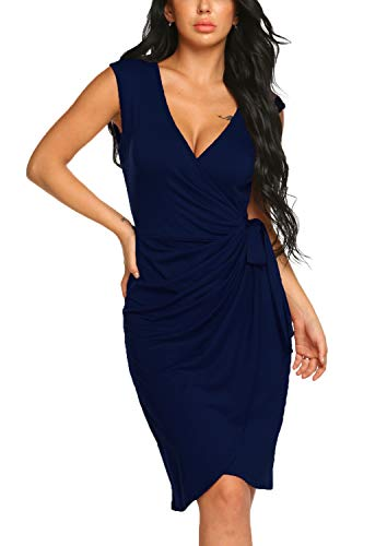 Tulip Hem Navy Dress - BLUETIME Women's Plain Irregular Sheath Dress Knotted Ruched V Neck Party Dress (M, Navy Blue)