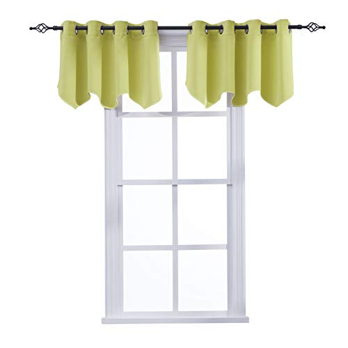 Aquazolax Scalloped Valances with Grommets for Kitchen Blackout Curtains Window Treatments Valances, 52inch by 18inch, Greenery, 1 Pair ()