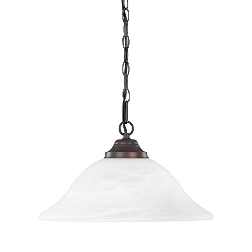 Capital Lighting 3907BB Transitional 1-Light Pendant, Burnished Bronze Finish with White Faux Alabaster Glass Burnished Bronze Finish Pendants