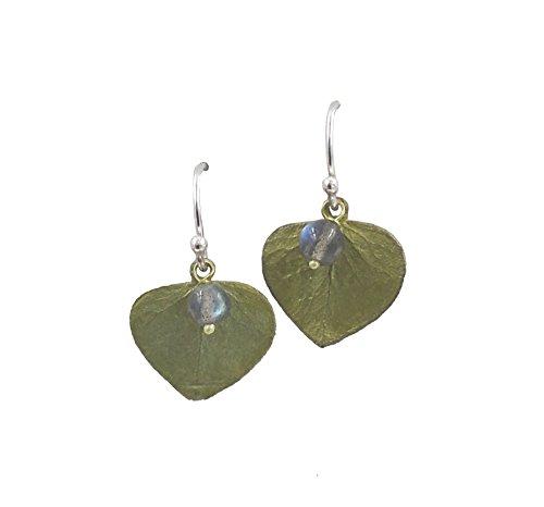 ''Eucalyptus Leaf'' Labradorite Wire Drop Earrings by Michael Michaud for Silver Seasons… by Michael Michaud