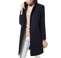 Woman Wool Coat Winter Jacket Women Slim Woolen Long Cashmere Coats Cardigan Jackets Elegant Dark Blue M