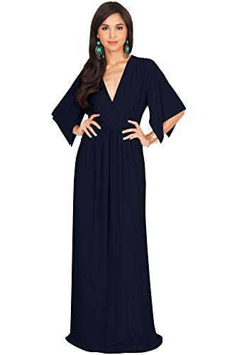 KOH KOH Womens Long Kaftan Caftan Short Sleeve Empire Waist Flowy V-Neck Summer Bridesmaid Evening Sexy Cute Modest Maternity Gown Gowns Maxi Dress Dresses, Dark Navy Blue L 12-14