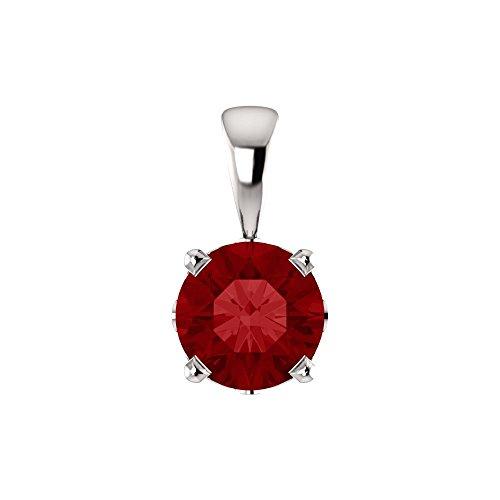 Bonyak Jewelry Lab-Created Ruby 14k White Gold Chatham Created Ruby Scroll Setting Pendant