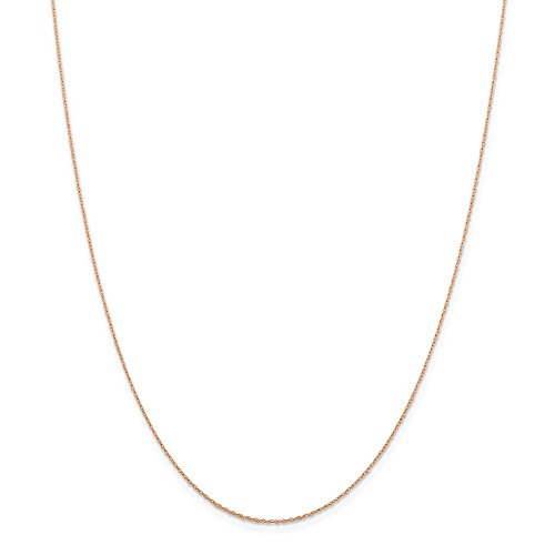 - 14k Rose Gold .5 Mm Cable Link Rope Chain Necklace 24 Inch Pendant Charm Baby Carded Fine Jewelry Gifts For Women For Her