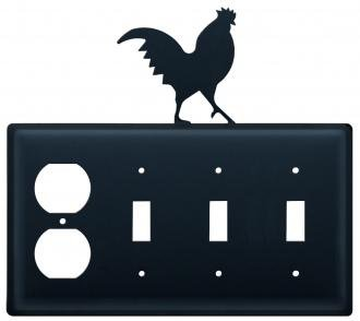 EOSSS-1 Rooster Single Outlet Triple Switch Electric Cover (Rooster Switchplate)