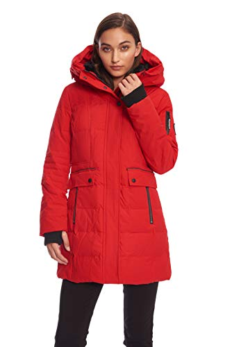 Alpine North Womens Down MID-Length Winter Coat with Hood, Crimson, ()