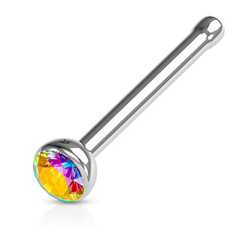 FIFTH CUE Press Fit Gem Set Ball 316L Surgical Steel Nose Bone Stud Ring (20G | Aurora Borealis)
