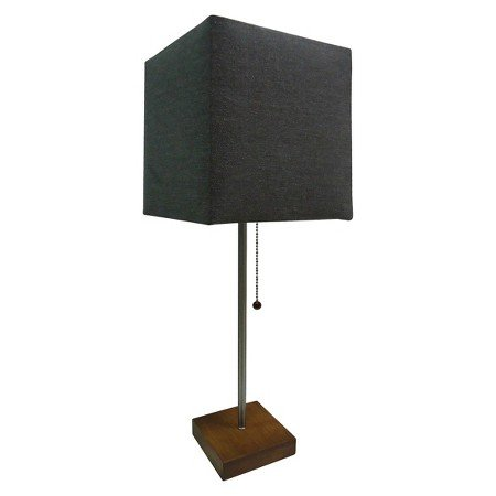 Threshold Table Lamp Wood Finish Square Base With Brownish Gray