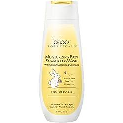 Babo Botanicals Moisturizing Baby Shampoo and Wash Oatmilk Calendula, 8 Ounce - Best Baby Shampoo Soothes Baby's Sensitive Skin; Natural Oat; Sensitive Skin; Dry Skin; Cradle Cap; Eczema